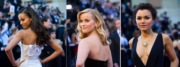 Backless and frontless were in: Zoe Saldana, Reese Witherspoon, and Samantha Barks.