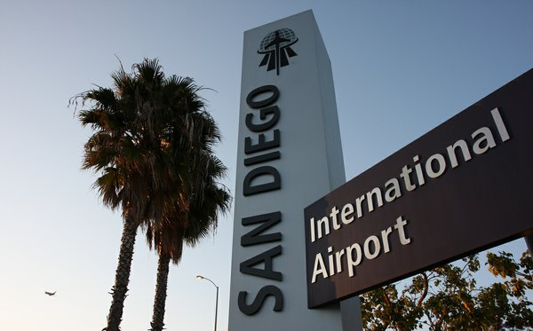 "A sign that says ""San Diego International Airport"" is seen in this undated photo."
