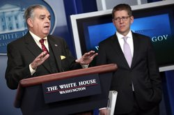 U.S. Secretary of Transportation Ray LaHood (L) answers questions during a briefing as the White House with Press Secretary Jay Carney looks onFebruary 22, 2013 in Washington, DC.