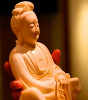 An ivory sculpted Buddha; Beijing, China.