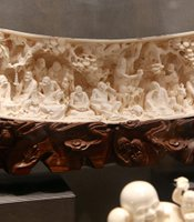 An intricate ivory sculpture; Hong Kong.