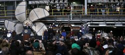 U.S. President Barack Obama speaks during a visit to Newport News Shipbuildin...