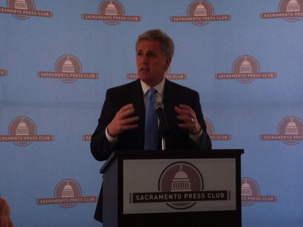 House Majority Whip Kevin McCarthy (R-Bakersfield) addresses the Sacramento Press Club Friday.