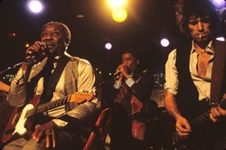 Muddy Waters, Junior Wells and Keith Richards onstage at Chicago's Checkerboa...