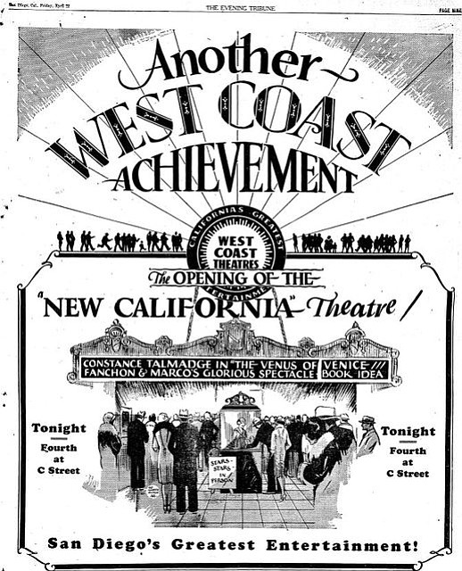 An advertisement for the 1927 grand opening of the California Theatre.