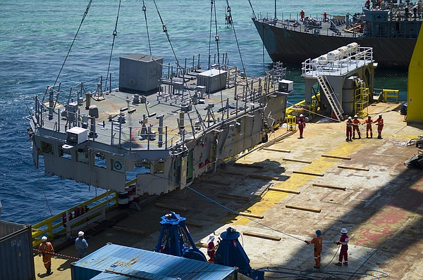 The second deck level of the mine countermeasures ship USS Guardian is guided...