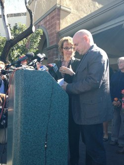 Gabrielle Giffords and Mark Kelly at the Safeway in Tucson where she was shot two years ago.