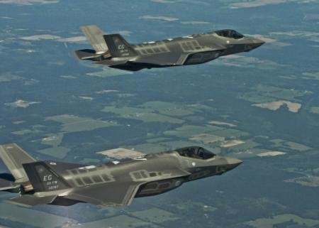 Two F-35A Lightning IIs from the 33rd Fighter Wing soar over Eglin Air Force ...