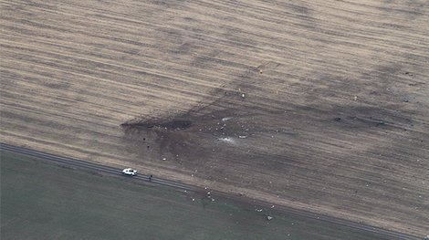 Military plane crash site in Washington state, March 11, 2013.