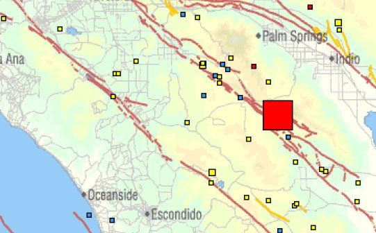 This USGS map shows the size and location of a moderate e...