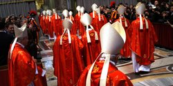 Cardinals exit St Peter's Basilica after they attended the Pro Eligendo Roman...