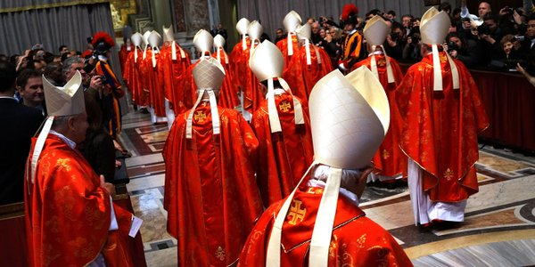 Cardinals exit St Peter's Basilica after they attended th...