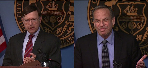 City Attorney Jan Goldsmith (L) and San Diego Mayor Bob Filner