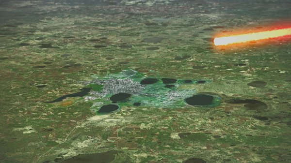 GFX of meteor burning up over Chelyabinsk and surrounding areas.