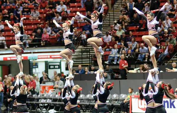 San Diego State University cheerleaders at an Aztecs basketball game.