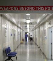 """No Weapons Beyond This Point"" sign inside Camp Bastion hospital."