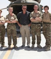 Presenter Michael Mosley with Medical Emergency Response Team (MERT). L to R: Flight Sergeant Sonia Darbyshire (Paramedic); Squadron Leader Charlie Thompson (Officer Commanding MERT); Presenter Michael Mosley; Sergeant Chris Bradshaw (Paramedic); Lieutenant Colonel Suzanne Brady (Doctor).