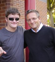 Lance Bombadier Robert Long (left) was blinded by an improvised explosive device in Afghanistan in 2010. He is now the first Brit on a trial of a new device called Brainport which could restore a sense of sight. Presenter Michael Mosley is on the right.