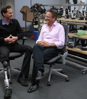 Designer of bionic artificial limbs, Hugh Herr, at Massachusetts Institute of Technology with presenter Michael Mosley.