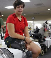 Captain Bergan Flannigan at Walter Reed National Military Medical Center in Bethesda, USA. She was injured in Afghanistan in February 2010 and is now undergoing rehabilitation.