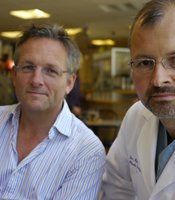 Presenter Michael Mosley with Dr. Bohden Pomahac, one of the world's leading face transplant surgeons. He and his team have been funded by the U.S. military to carry out eight face transplants at the Brigham & Woman's hospital, Boston.