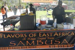 Owino, at the Flavors of East Africa booth at the San Diego State University Farmers Market.