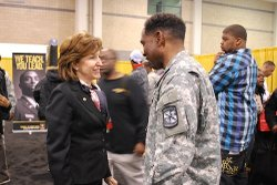 Sen. Kay Hagan with service member.