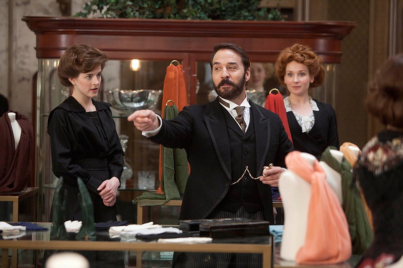 Left to Right: Aisling Loftus as Agnes and Jeremy Piven as Harry Selfridge.