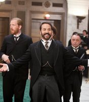 Left to Right: Tom Goodman Hill as Mr Grove, Jeremy Piven as Harry Selfridge and Ron Cook as Crabb.