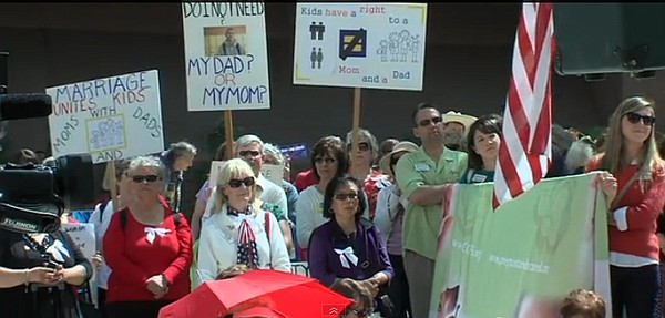 Supporters of traditional marriage rally at the U.S. Federal Courthouse in do...