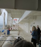 KPBS Producers Club members tour the USNS Mercy Hospital Ship at the San Diego Naval Base on March 21, 2013.