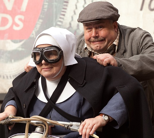 Pam Ferris as Sister Evangelina and Cliff Parisi as Fred.