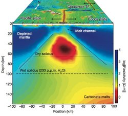 This well of magma chambered deep within the Earth's mantle beneath the Pacific Ocean is 100 miles deep and 100 miles wide.