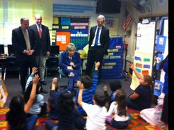 Sen. Barbara Boxer talks with first graders at Perkins Elementary School in B...