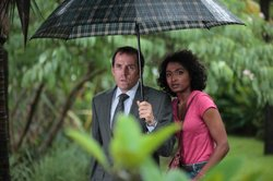 Ben Miller as DI Richard Poole and Sara Martins as Camille Bordey.