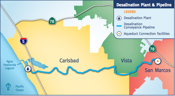 Map of the pipeline to be built for desalinated water, Ma...