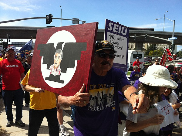 Hundreds of union supporters marked Cesar Chavez Day by m...