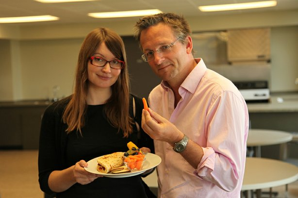 Dr. Krista Varady, who studies Alternate Day Fasting, with presenter Michael Mosley.