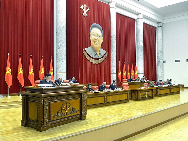 North Korea's KCNA news agency released this photo Monday, saying it shows le...