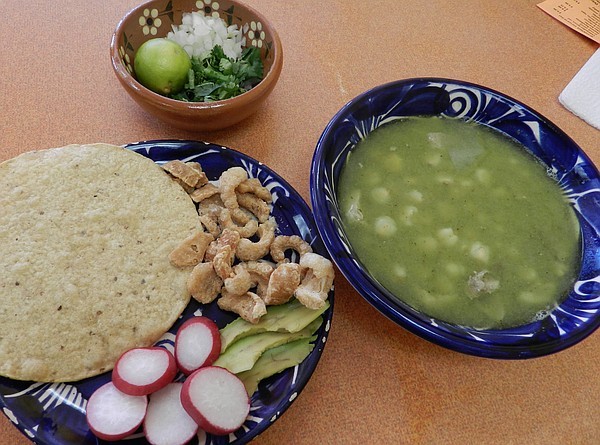 Green pork pozole from El Borrego.