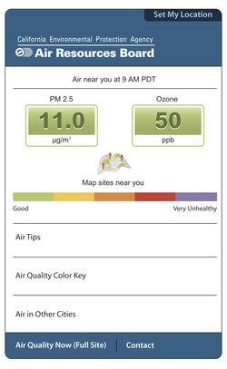 The California Air Resources Board's mobile website displays hourly ozone and particle pollution measurements based on users' location.
