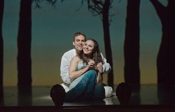 "Alek Shrader as Ferdinand and Isabel Leonard as Miranda in Thomas Adès' ""The Tempest."""