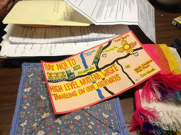 A handmade card shows opposition to nuclear waste traveli...