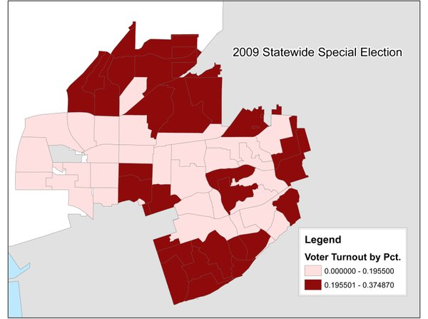 A map of voter turnout in a 2009 statewide special election. Paradise Hills i...