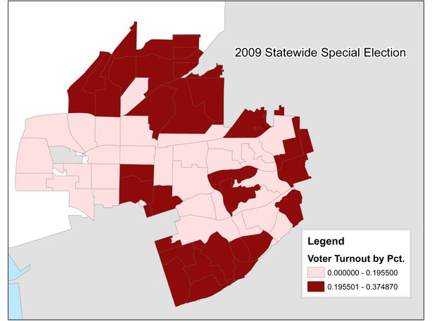 A map of voter turnout in a 2009 statewide special election. Paradise Hills is the most southern corner of the district.