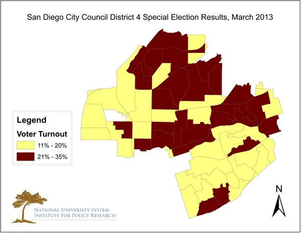 A map of voter turnout in the 2013 special City Council D...