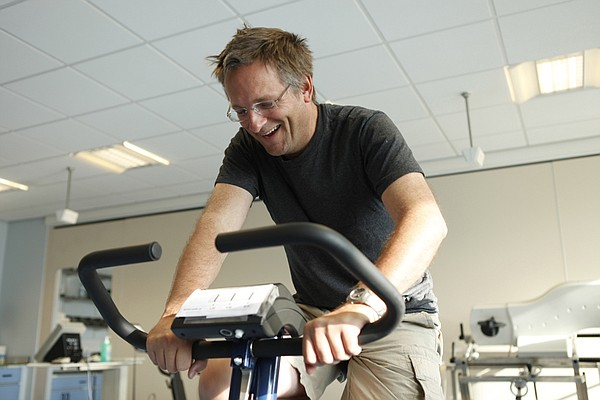 Dr. Michael Mosley on an exercise bike at University of N...