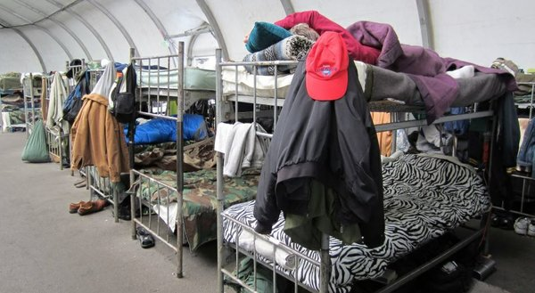 Veterans Village of San Diego runs the temporary 150-bed winter homeless shel...