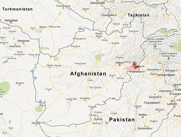 Map of crash site in Afghanistan.