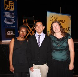 Kearny High School Student Leader Delegates from the Anti-Defamation League's National Youth Leadership Mission, (from left to right) Laila Shabazz, Dominic Cordina and Cassandra Blessing.